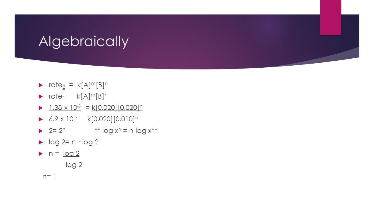 Algebraically rate2 = k[A]m[B]n rate1 k[A]m[B]n